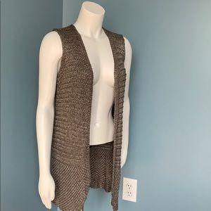 Chico's Metallic Open Cardigan Sweater Vest size 1